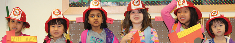 preschool children wearing hats