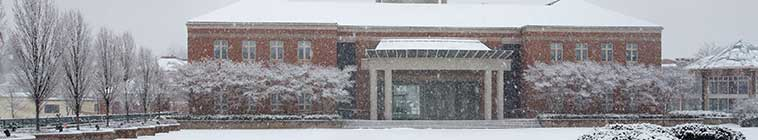 HMC building in the snow